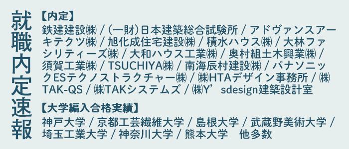 内定者・大学編入合格者速報(2018年1月現在、一部抜粋)