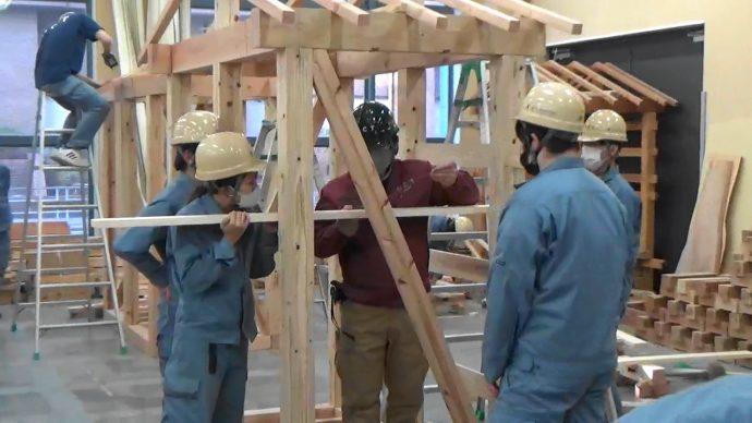 photo: 大工技能学科1年生 半坪ハウス組立て<br>OCT公式Youtubeにて公開!